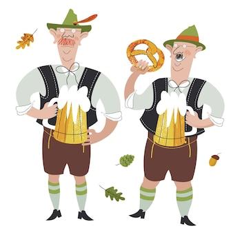 民族衣装を着た2人の陽気なドイツ人がビールを飲んでいます面白いキャラクター