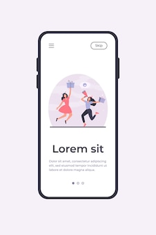 Two cheerful women celebrating and jumping with gifts. present, loudspeaker, fun flat vector illustration. promotion and advertising concept mobile app template