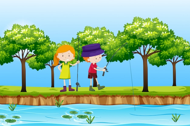 Two children fishing lake scene