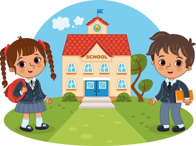 Двое детей идут в школу векторные иллюстрации