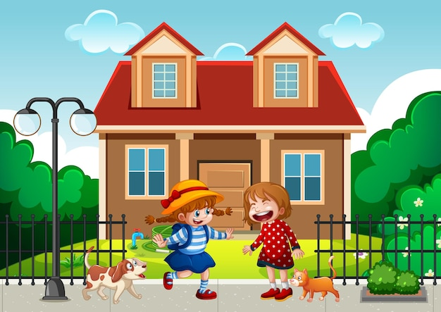 Two children standing in front of the house