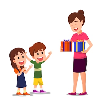 2人の子供は母親から贈り物を受け取ったので幸せでした