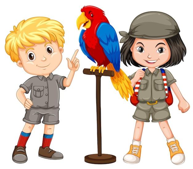 앵무새 애완 동물과 함께 두 아이