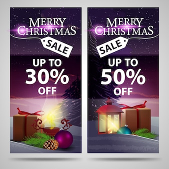 Two christmas banners with beautiful winter landscape, gifts and antique lamp