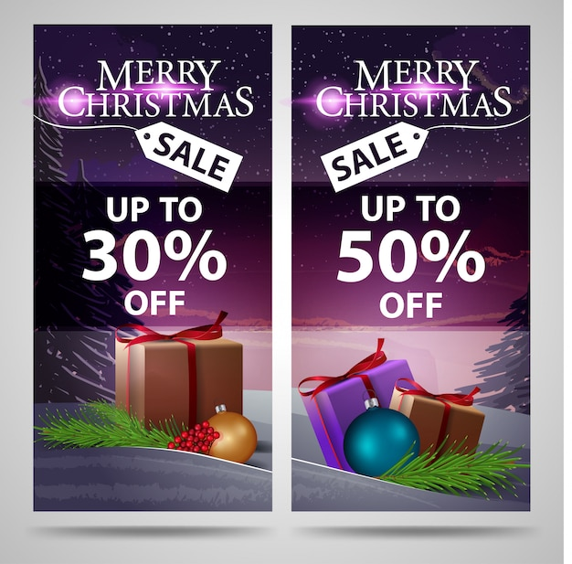 Two christmas banners with beautiful winter landscape and gifts