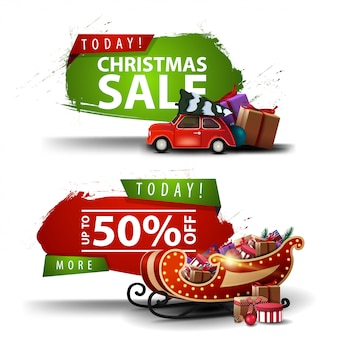 Two christmas discount banners in the form of an abstract figure with ragged edges with red vintage car carrying christmas tree and santa sleigh with presents