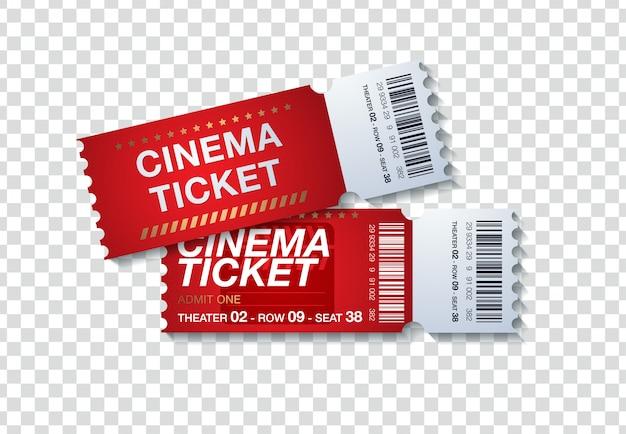 투명 한 배경에 고립 된 두 영화 티켓입니다. 현실적인 전면보기 그림