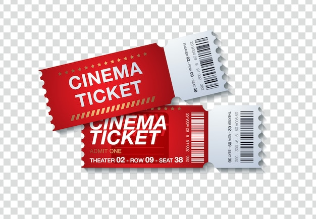 Two cinema tickets isolated on transparent background. realistic front view illustration