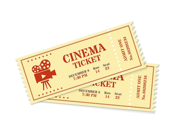 Two cinema tickets, realistic movie ticket mockup. old vintage movies show entrance pass, film festival admission coupon vector template. permission to enter to watch movie isolated