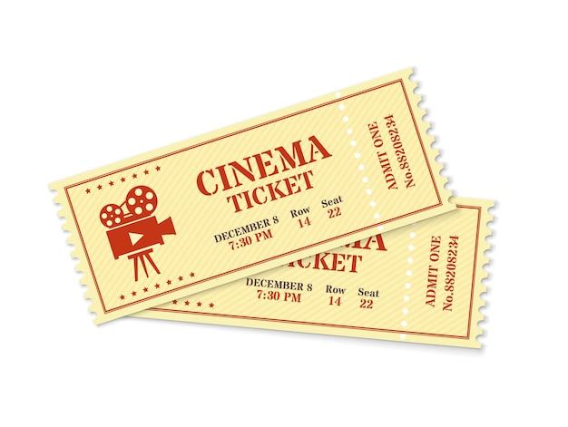 映画のチケット2枚、リアルな映画のチケットのモックアップ。古いヴィンテージ映画は、入場パス、映画祭入場クーポンベクトルテンプレートを示しています。孤立した映画を見るために入る許可