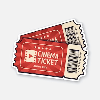 Two cinema tickets with barcode pair paper retro coupons for movie entry vector illustration