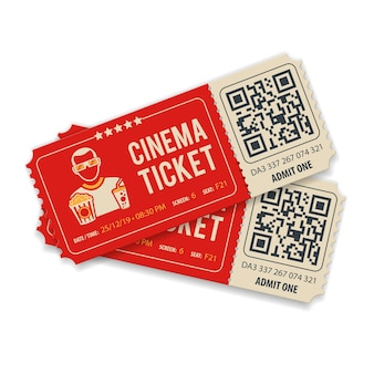 Qr 코드, 뷰어, 팝콘 및 소다, 평면 스타일 아이콘, 격리 된 벡터 일러스트와 함께 두 개의 영화 티켓