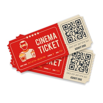 Two cinema tickets with qr code, viewer, popcorn and soda