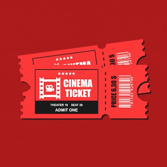 Two cinema vector tickets isolated close up