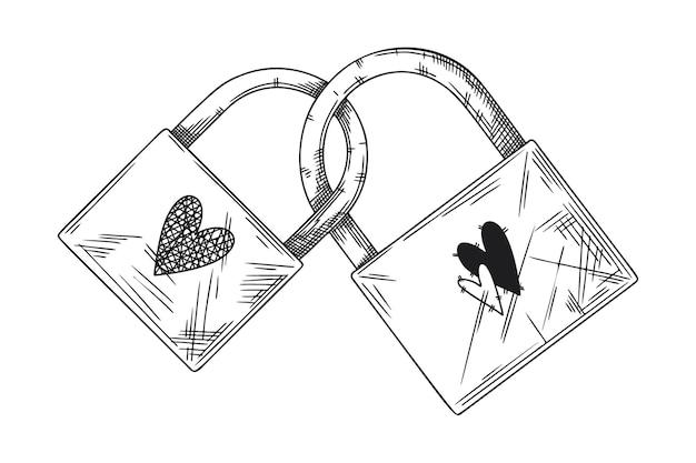 사랑의 두 개의 닫힌 된 자물쇠 상징입니다. 두 개의 자물쇠와 하트를 스케치하십시오. 스케치 스타일의 그림입니다.