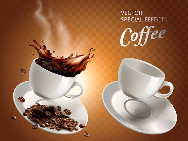 Two coffee cups, one empty and one full, transparent background