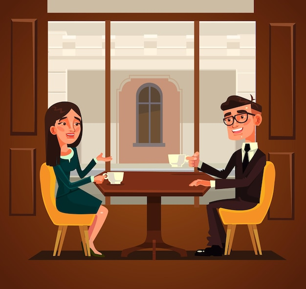 Two colleagues friends having break and drinking coffee illustration