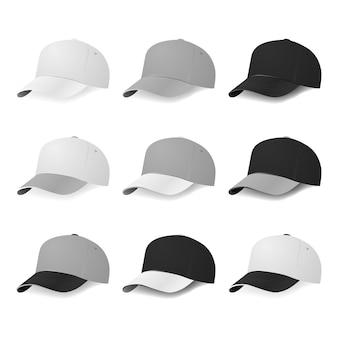 흰색, 회색 및 검은 색 색상의 2 색 야구 모자. 삽화.