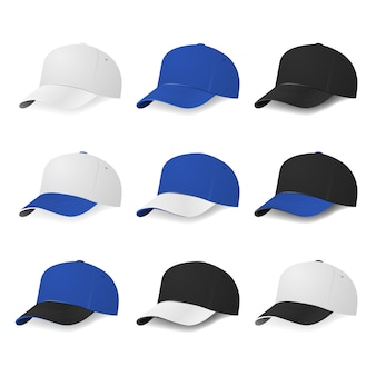 Two-color baseball caps with white, blue and black colors.  illustration.