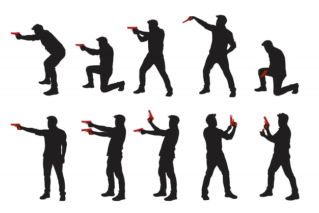 Two color men with gun silhouettes set