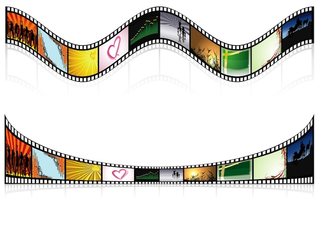 Two colored film strips