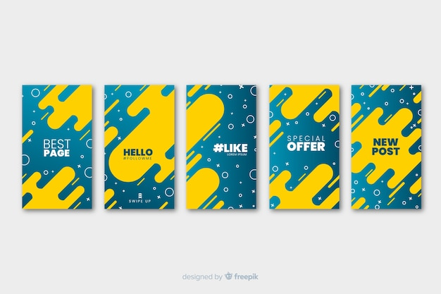 Two colored fluid abstract instagram stories template