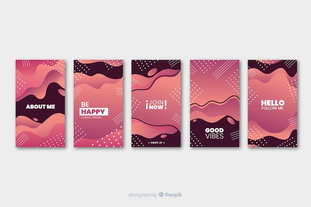 Two colored fluid memphis abstract instagram story template
