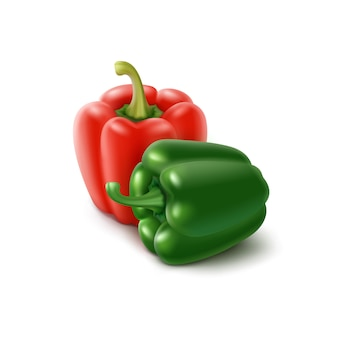2つの色の緑、赤のブルガリアのピーマン