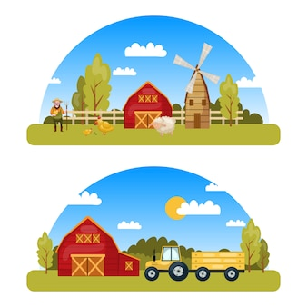 Two colorful farm panorams with country view and cartoon style elements such as tractor mill warehouse