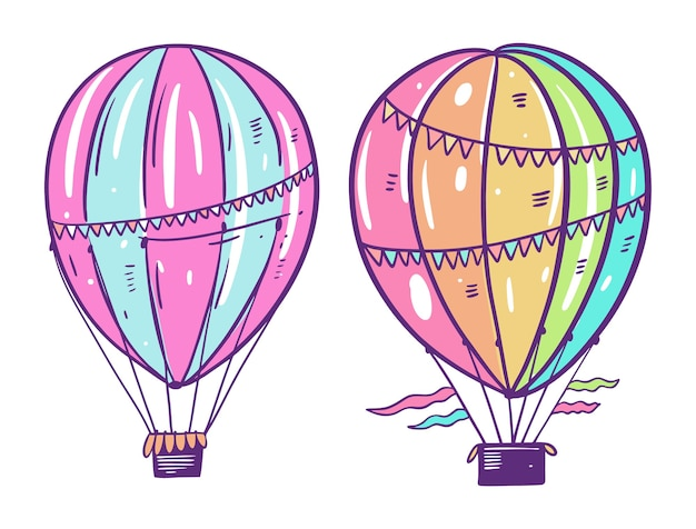 Two colorfulair balloons. in cartoon style. isolated on white background. design for potser, banner, web.