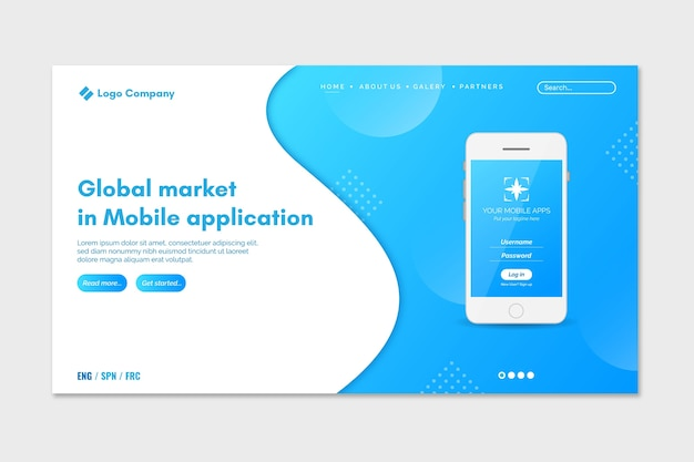 Two colors landing page with smartphones