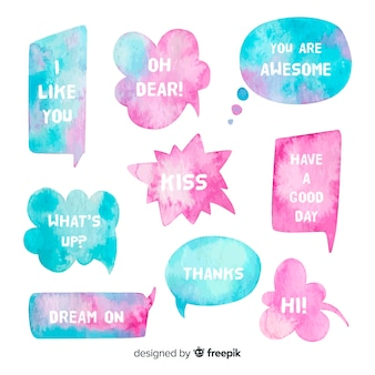 Two colors watercolored speech bubbles