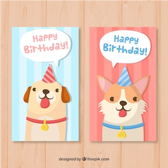 Two colourful hand drawn birthday cards with dogs