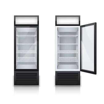 하나의 디스플레이 도어가 열리고 닫힌 현실적인 세트가있는 두 개의 상업용 바 음료 냉장고