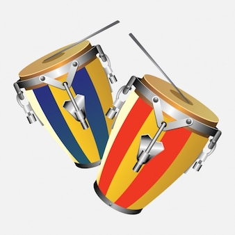 Two congas with drumsticks