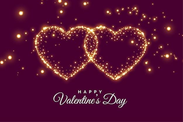 2つの接続された輝きハートバレンタインの日グリーティングカード