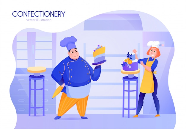 Two cooks confectioners in uniform decorating cakes cartoon