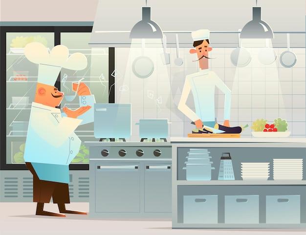 부엌에서 두 명의 요리사. 미식가 요리사