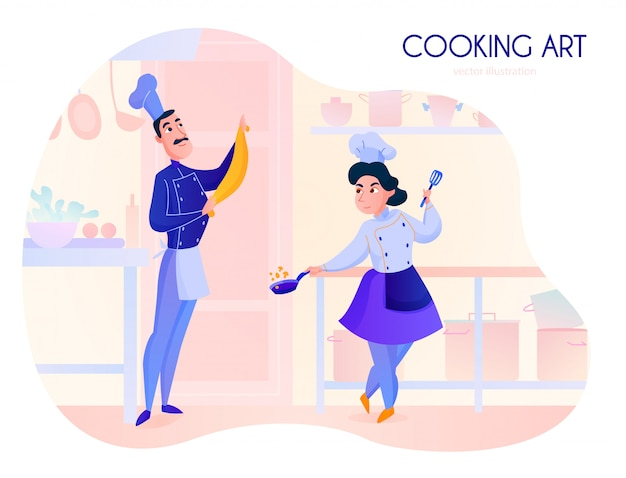 Two cooks working in restaurant kitchen cartoon