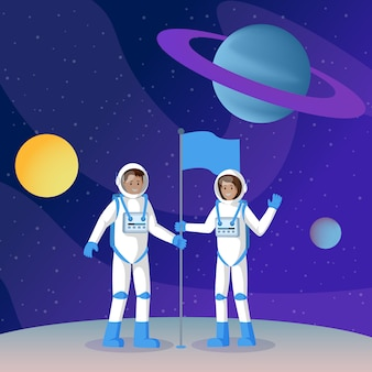 Two cosmonauts placing flag flat
