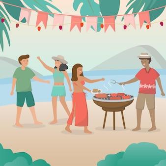 2組のカップルがピクニックに招待され、ビーチバーベキューパーティーとグリルバーベキューのイラストを持っています