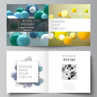 正方形の二つ折りパンフレット、チラシ、雑誌の2つのカバーテンプレート Premiumベクター