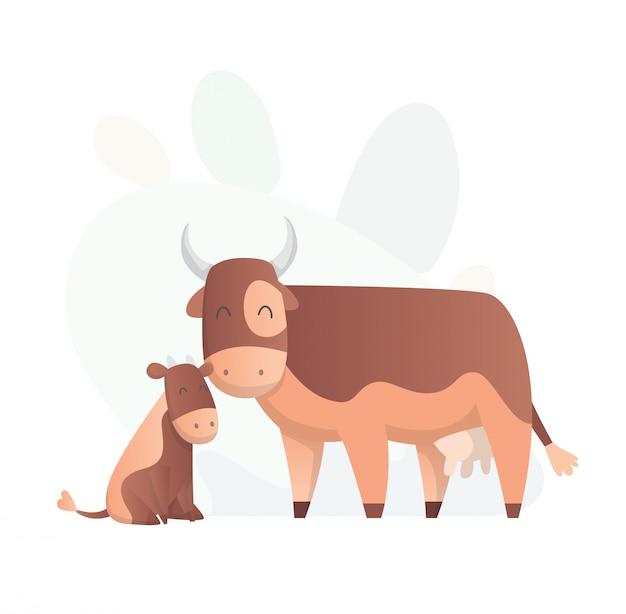 2頭の牛がお互いを見ています。動物ママと赤ちゃん。フラットスタイルでかわいい動物を漫画します。服を印刷します。ベクトル図