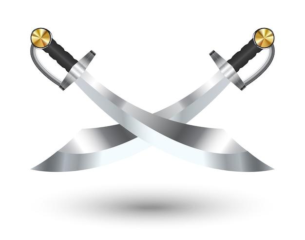 白い背景に2つのクロス海賊剣