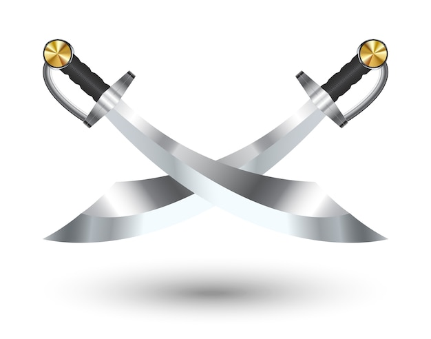 Two cross pirate sword on a white background