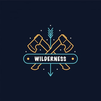 Two crossed axes. bushcraft camp logo . wild forest survival. line   style illustration.