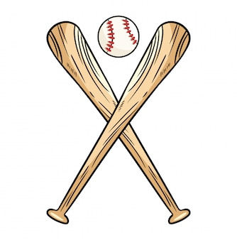 Two crossed baseball bats and ball, icon sports logo.