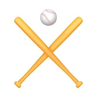 上に小さな特別な白いボールが付いた2つの交差した野球のバット。