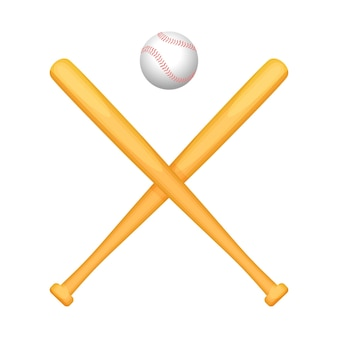 Two crossed baseball bats with small special white ball above.