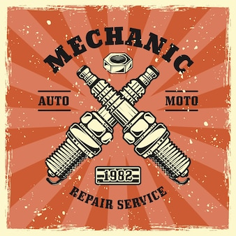 Two crossed engine candles or spark plugs emblem, badge, label, logo or t-shirt print in vintage colored style. vector illustration with grunge textures on separate layers